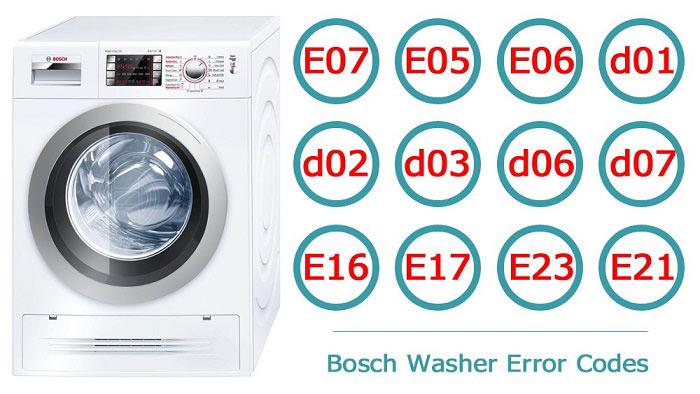 انواع کد خطا یا ارور ماشین لباسشویی Bosch